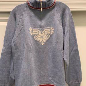 Ladies 1/4 zip wool sweater.